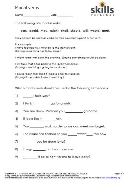 Modal verbs worksheet : Skills Workshop