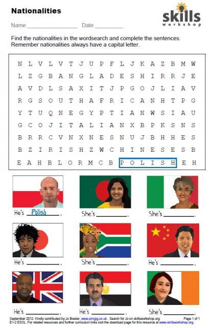 Nationalities word search : Skills Workshop