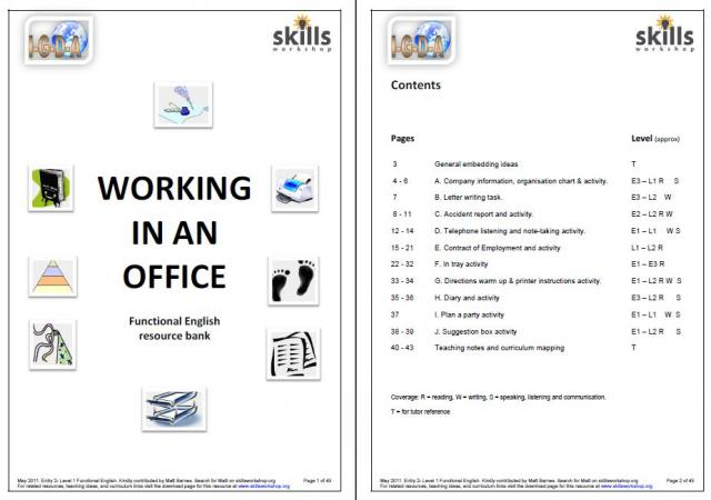 working in an office functional english resource pack