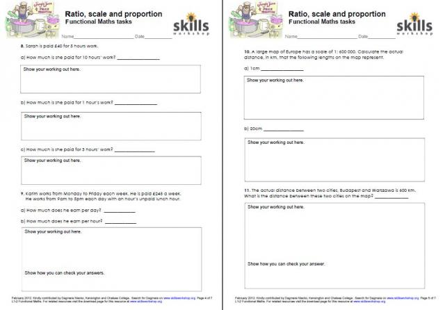 Printables Life Skills Worksheets For Adults ratio scale and proportion functional maths tasks skills workshop