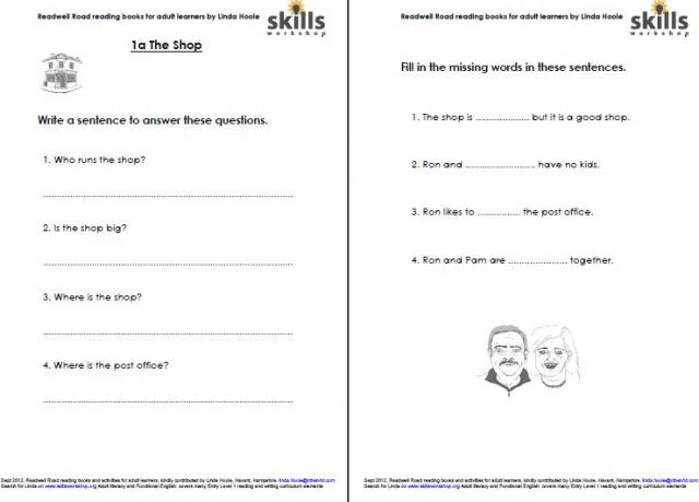 activity sheets for readwell road 1a the shop skills workshop. Black Bedroom Furniture Sets. Home Design Ideas