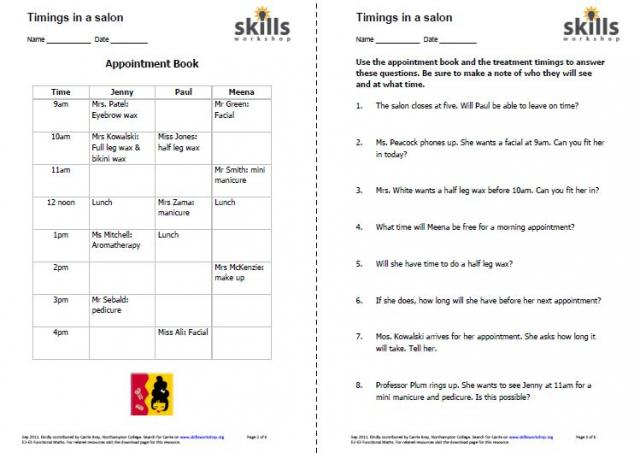 math worksheet : hairdressing  beauty therapy  skills workshop : Level 2 Maths Worksheets