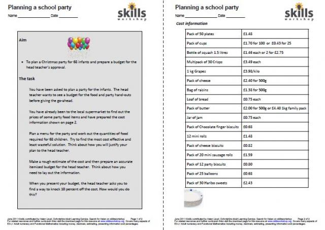 Planning a school party : Skills Workshop