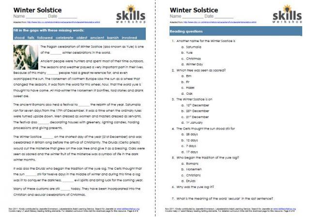 Number Names Worksheets » Holiday Reading Comprehension Worksheets ...