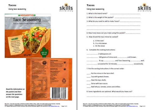 Using packet seasoning to make tacos. Worksheet provides practice in ...
