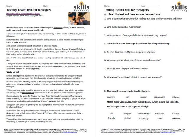Printables Reading Comprehension Vocabulary Worksheets printables reading comprehension vocabulary worksheets rtl2 1 skills workshop this article would interest learners with teenage