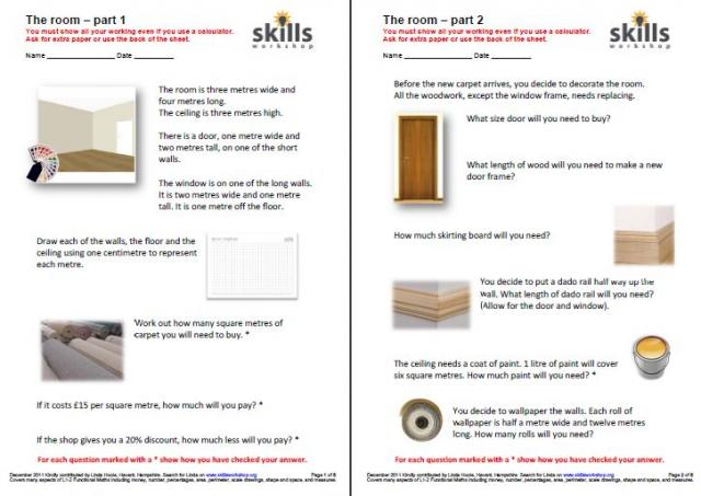 The room Functional Maths challenge – Life Skills Maths Worksheets