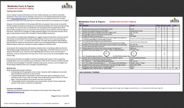 Answer sheet - Wimbledon Facts and Figures