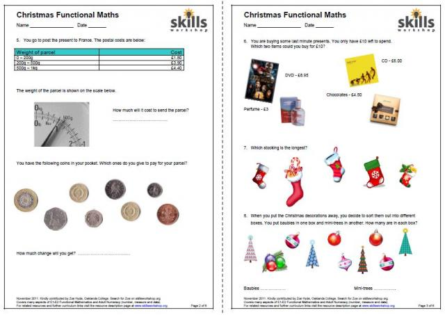 math worksheet : e1 2 christmas functional maths  skills workshop : Xmas Maths Worksheets
