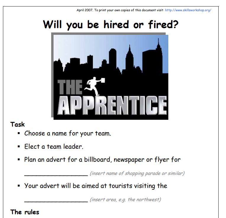 Will you be hired or fired? English resource based on The Apprentice