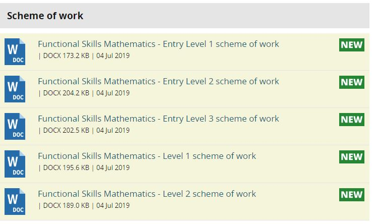 Pearson free schemes of work for reformed Functional Skills Maths