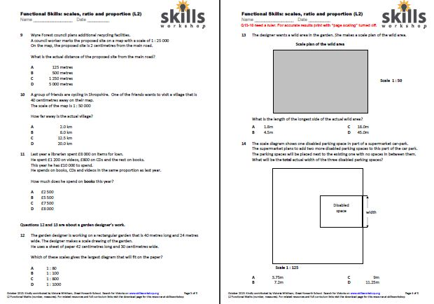 Functional Maths L2 Ratio Scales And Proportion Multiple Choice