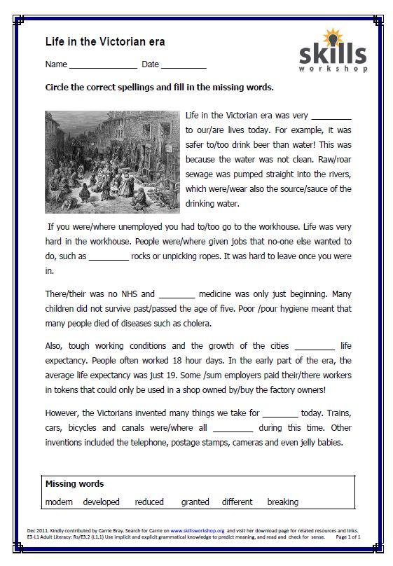 Life in the Victorian era | Skills Workshop